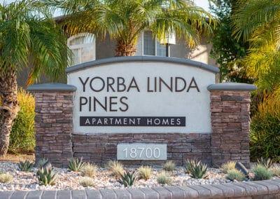 Entrance sign Yorba linda Pines Apartment Homes