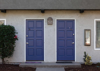 Exterior blue front doors