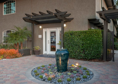 front entrance with mini fountain