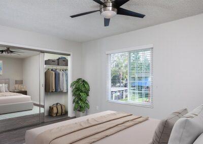 Furnished master bedroom at Yorba Linda Pines